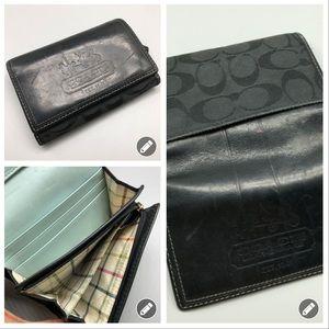 Coach leather canvas monogram CC trifold wallet